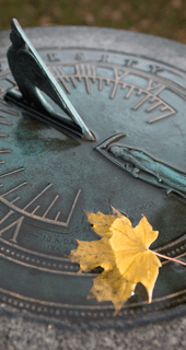 Wet verdigris sundial with a yellow leaf sitting on it